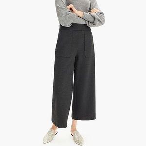 J. Crew black Ponte wide-leg crop pants